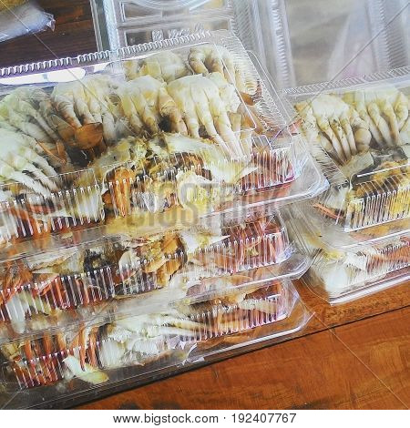 This picture is a steamed crab. Put plastic box for sale in Cha um,Thailand.