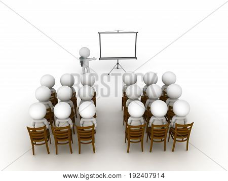 3D illustration of a public speaking event or presentation. Isolated on white.