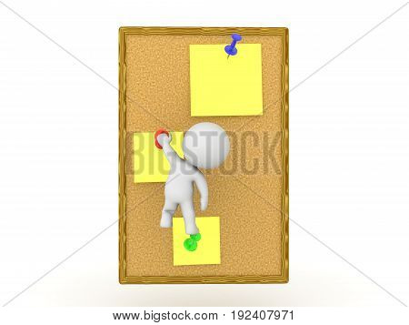 3D Character climbing yellow sticky notes on wooden board. Image is a metaphor for completing tasks.