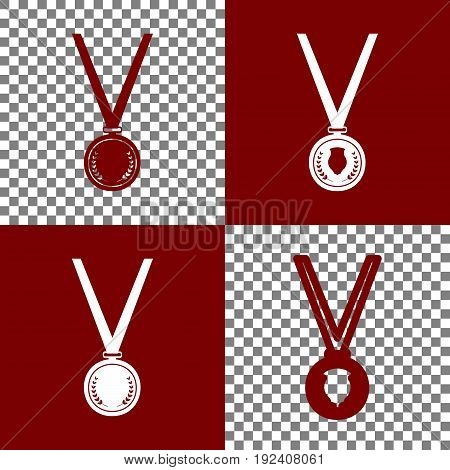 Medal simple sign. Vector. Bordo and white icons and line icons on chess board with transparent background.