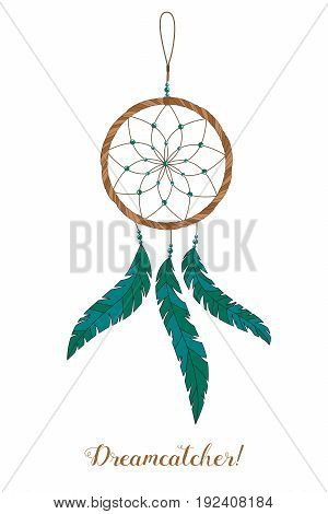 American Indians Amulet. Dream Catcher With Feathers And Beads On A White Background. Boho Style