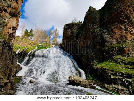 Panorama of Jermuk waterfall on Arpa river in Armenia