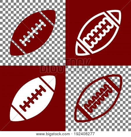 American simple football ball. Vector. Bordo and white icons and line icons on chess board with transparent background.