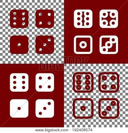 Devils bones, Ivories sign. Vector. Bordo and white icons and line icons on chess board with transparent background.