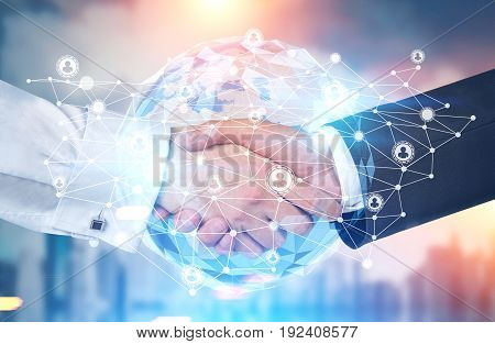 Close up of two businessmen shaking hands standing against a blurred cityscape. Toned image mock up double exposure.
