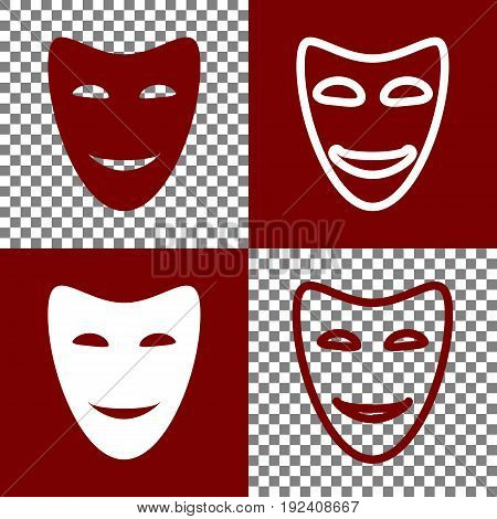 Comedy theatrical masks. Vector. Bordo and white icons and line icons on chess board with transparent background.