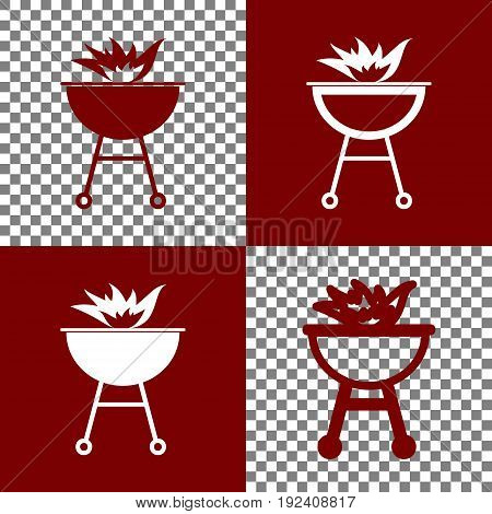 Barbecue with fire sign. Vector. Bordo and white icons and line icons on chess board with transparent background.