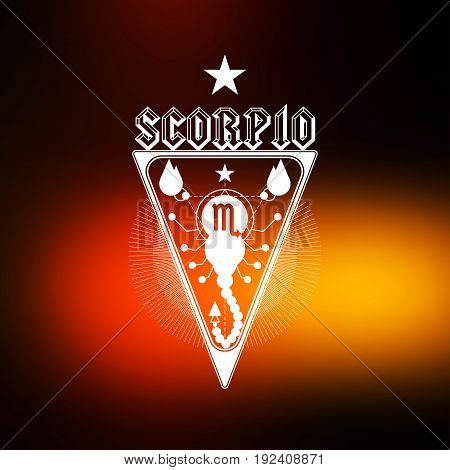 Scorpion Zodiac sign, Horoscope, tattoo, vintage badge, vector illustration