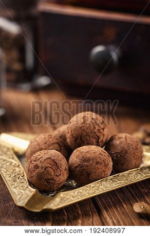 Truffle Chocolate Candies With Cocoa Powder