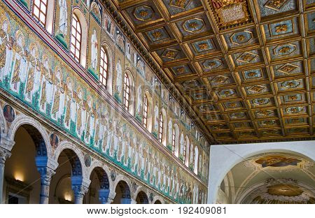 Ravenna Italy - March 1 2012: The central nave of the S.Apollinare Nuovo basilica