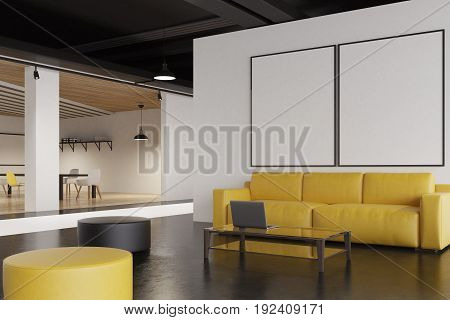 Office waiting room interior with a yellow sofa a gray and a yellow pouffes a poster gallery on a white wall and a narrow table with a laptop on it. 3d rendering mock up