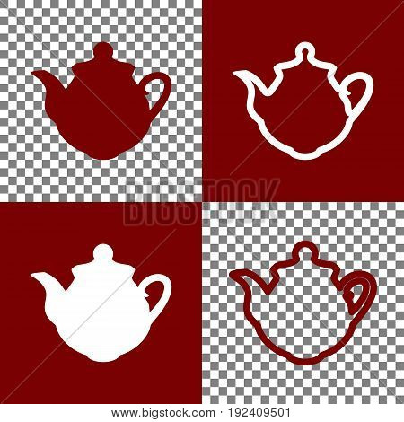 Tea maker Kitchen sign. Vector. Bordo and white icons and line icons on chess board with transparent background.