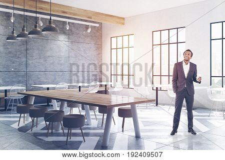 Cafe With Tables, Round Chairs, Concrete, Man