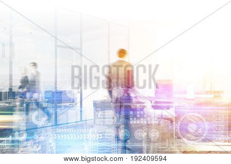 Business people are walking in a modern office with glass doors. Cityscape background. Graphs. Concept of a business life. Mock up toned image double exposure