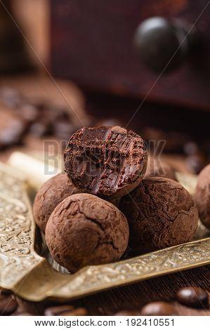 Bitten Chocolate Truffle In Cocoa Powder