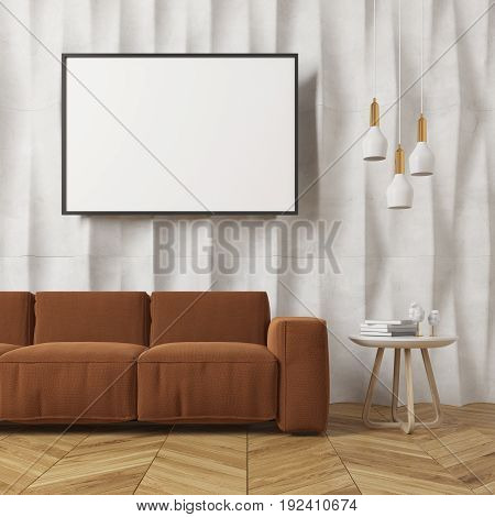 Living room interior with a white textured wall a wooden floor a framed horizontal poster hanging above a brown sofa and a coffee table with book and glasses. 3d rendering mock up