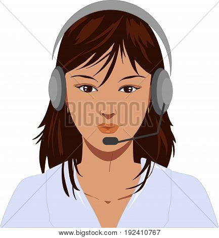 Beautiful telephone operator with earphone vector illustration