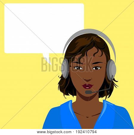 Beautiful black telephone operator with earphone vector illustration with empty balloon