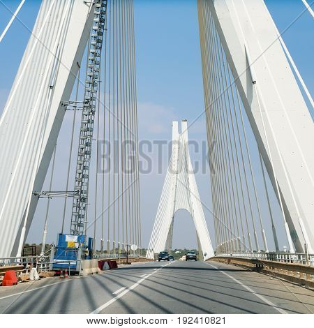 Road On Cable-stayed Bridge Near Portimao City