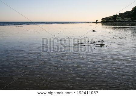 Beach Praia Falesia Near Albufeira City During Ebb