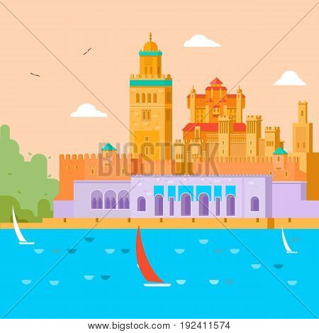 Travel concept. Travel in Morocco, study of the country and its culture, traditions, sights, learn about the history of the continent. Flat ector illustration.