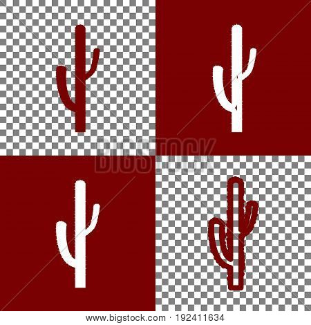 Cactus simple sign. Vector. Bordo and white icons and line icons on chess board with transparent background.