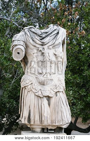 Ruin Of Ancient Statue In Urban Park In Athens