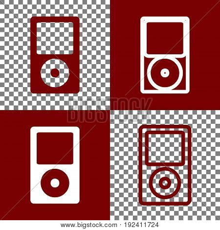 Portable music device. Vector. Bordo and white icons and line icons on chess board with transparent background.