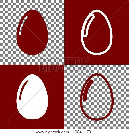Chicken egg sign. Vector. Bordo and white icons and line icons on chess board with transparent background.