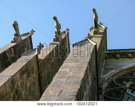 Gargoyles On Wall Of Basilica Of Saints Nazarius