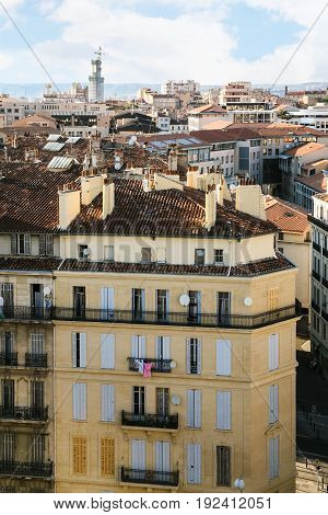 Above View Of Residential Houses In Marseilles
