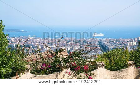 Garden And View Of Cannes City On Background