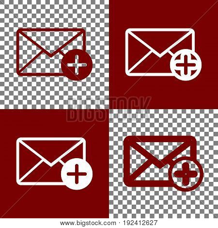 Mail sign illustration with add mark. Vector. Bordo and white icons and line icons on chess board with transparent background.