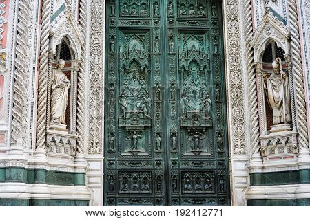 Closed Doors Of Santa Maria Del Fiore In Florence
