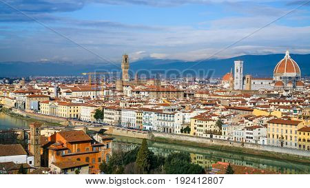 Panoramic View Of Florence City In Sunny Winter