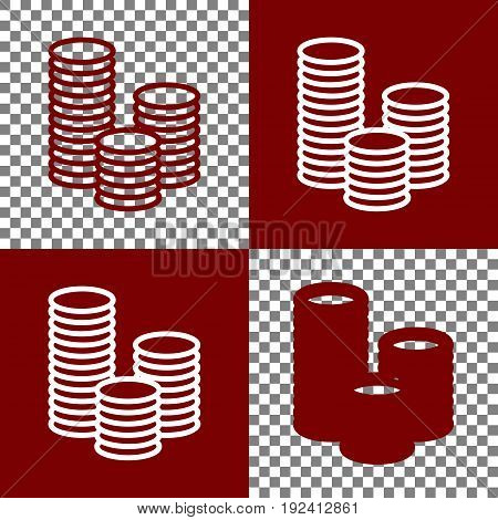 Money sign illustration. Vector. Bordo and white icons and line icons on chess board with transparent background.