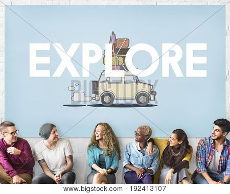 People with illustration of discovery journey road trip traveling