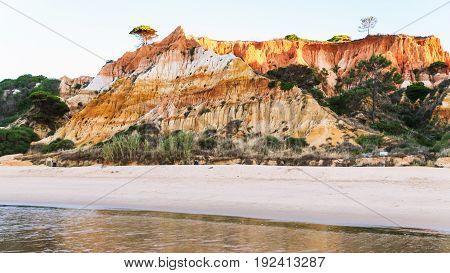 Beach Praia Falesia Near Albufeira City In Evening