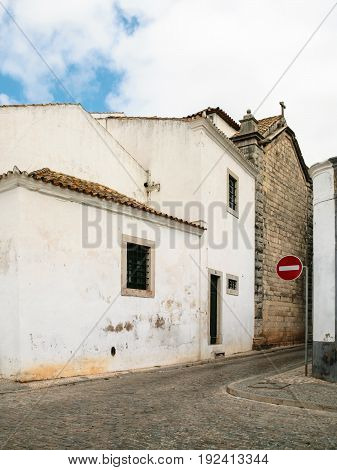 Street With Typical Houses In Old City Of Faro