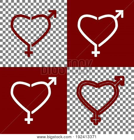 Gender signs in heart shape. Vector. Bordo and white icons and line icons on chess board with transparent background.
