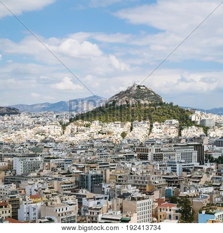 Above View Of Athens City With Mount Lycabettus