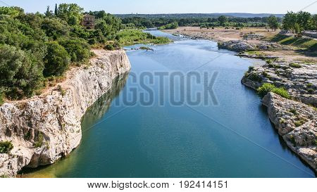 Valley Of Gardon River Near Pont Du Gard