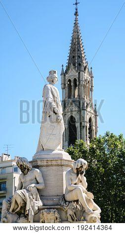 Statue Of Pradier Fountain In Nimes City