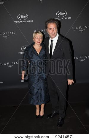 Paolo Sorrentino with wife at the Women in Motion Awards Dinner  for at the 70th Festival de Cannes.May 21, 2017 Cannes, France