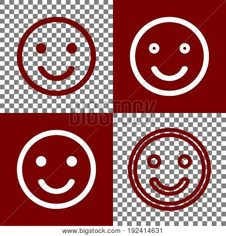 Smile icon. Vector. Bordo and white icons and line icons on chess board with transparent background.