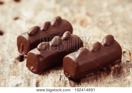 Luxury Handmade Chocolate  Bonbons On Wooden Background
