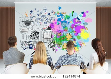 Back view of young team looking at poster with creative sketch hanging in wooden interior. Creative and analytical thinking concept. 3D Rendering