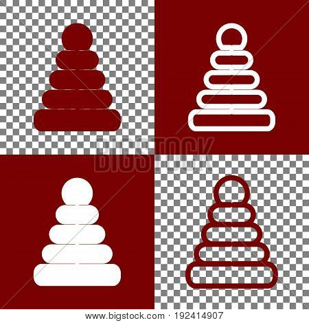 Pyramid sign illustration. Vector. Bordo and white icons and line icons on chess board with transparent background.