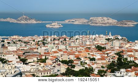 Above View Marseilles City And Chateau D'if Island