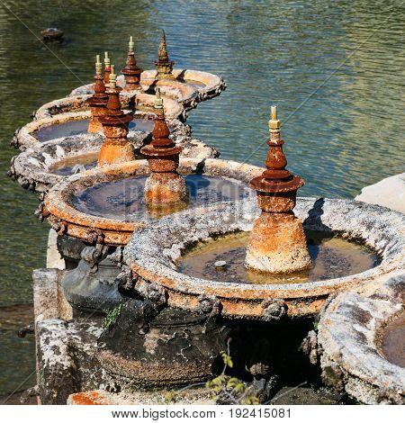 Details Of Cascade Fountain In Palais Longchamp